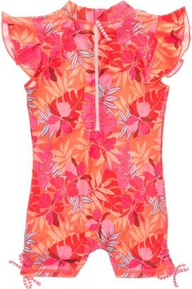 Snapper Rock Kids' Tropical Punch Flutter Sleeve One-Piece Rashguard Swimsuit