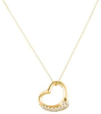 Tiffany & Co. 18K Diamond Open Heart Pendant Necklace