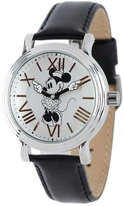 DISNEY PRINCESS Disney Minnie Mouse Womens Black Leather Strap Watch