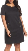 Tahari Zip Pocket Ponte Shift Dress (Plus Size)