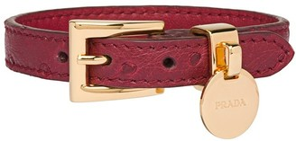 Prada Ostrich leather logo bracelet