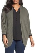 Sejour Plus Size Women's Ribbed Dolman Cardigan
