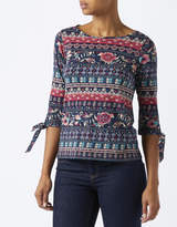 Monsoon Milly Print Tie Sleeve Top