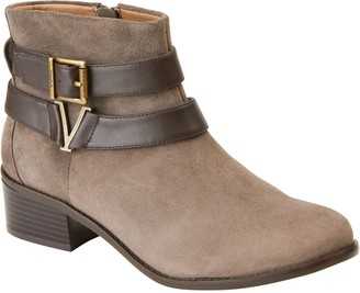 Vionic Suede Stacked Heel Ankle Boots - Hope Mana