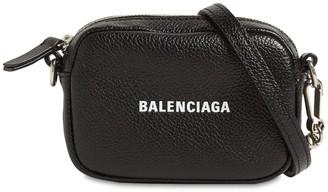 Balenciaga Logo Leather Mini Wallet W/ Strap