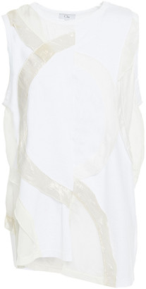 Clu Ruffled Lurex, Cotton-jersey And Silk-voile Top