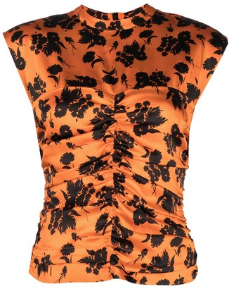 Ganni Ruched Floral Sleeveless Top