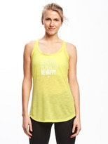 Old Navy Semi-Fitted Go-Dry Graphic Racerback Tank for Women