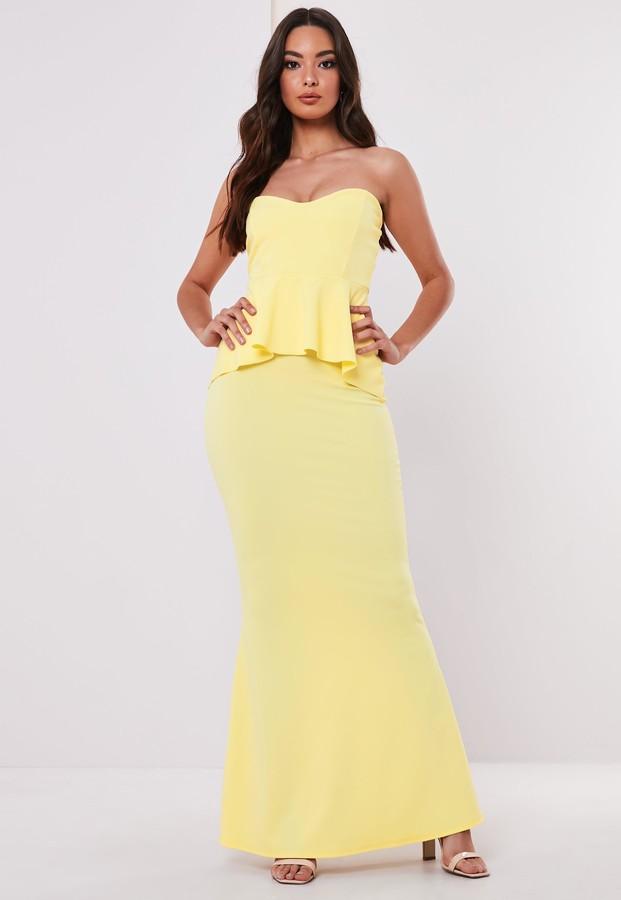 Missguided Bridesmaid Lemon Sweetheart Bandeau Peplum Maxi Dress