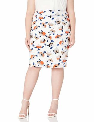 Nine West Women's Plus Size Printed Crepe Skirt