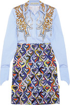 Mary Katrantzou Montague Embellished Printed Cotton-blend Shirt Dress - Blue
