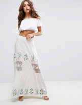 Boohoo Petite Boohoo Embroidered Lace Insert Tiered Maxi Skirt