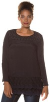 Ulla Popken Plain Round Neck Blouse with Long Sleeves