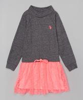 U.S. Polo Assn. Gray & Neon Pink Cowl Neck Dress - Girls
