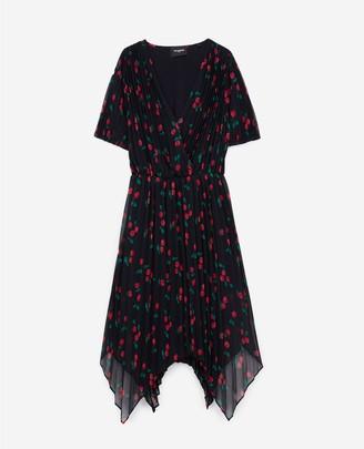 The Kooples Pleated navy blue short formal dress w/motif