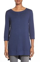 Caslon Three Quarter Sleeve Side Slit Tunic (Regular & Petite)