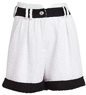 Balmain Women's High-Waist Contrast Tweed Shorts
