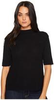 Michael Stars Cotton Knit Elbow Sleeve Mock Neck Women's Clothing