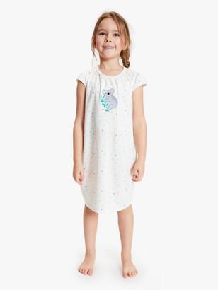 John Lewis & Partners Girls' Koala Night Dress, White/Multi