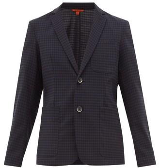 Barena Venezia - Borgo Gingham Wool Blend Single Breasted Blazer - Mens - Navy