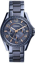 Fossil ES4275 Women's Riley Chronograph Bracelet Strap Watch, Blue