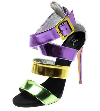 Giuseppe Zanotti Multicolor Mirror Leather Cross Strap Sandals Size 37.5