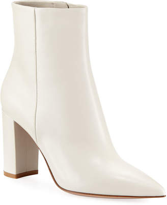Gianvito Rossi Pointy-Toe 85mm Leather Block-Heel Bootie