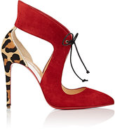 Christian Louboutin Women's Ferme Rouge Suede & Calf Hair Pumps-RED, NO COLOR