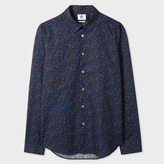 Paul Smith Men's Slim-Fit Navy 'Hole Punch' Print Cotton Shirt