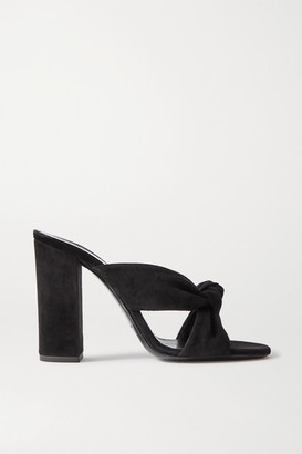 Saint Laurent Bianca Knotted Suede Mules - Black