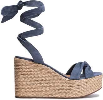 Schutz Twist-front Suede Wedge Espadrille Sandals
