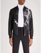 Alexander McQueen Embroidered satin bomber jacket