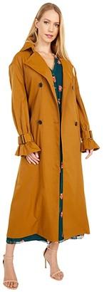 Jason Wu Pleat Back Trench Coat (Camel) Women's Clothing
