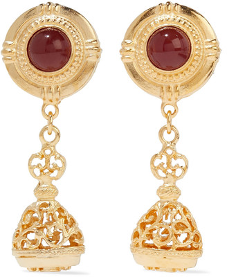 Ben-Amun 24-karat Gold-plated Stone Clip Earrings