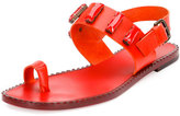 Tomas Maier Jeweled Leather Toe-Ring Sandal, Fire