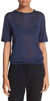 DKNY Women's Sheer Short Sleeve Pullover