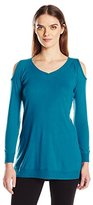 French Laundry Women's Cozy V-Neck Cold Shoulder Tunic
