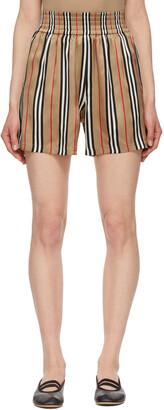 Burberry Beige Silk Icon Stripe Marsett Shorts