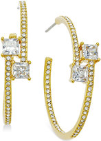 Eliot Danori Gold-Tone Crystal Bypass Hoop Earrings