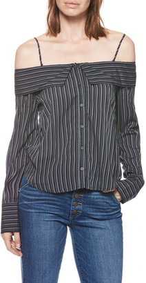 Paige Lunetta Striped Off-the-Shoulder Long Sleeve Shirt