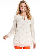Charter Club Petite Top, Long-Sleeve Embroidered Keyhole Tunic