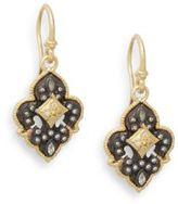 Armenta Old World Fleur De Lis 0.17 TCW Diamond & 18K Yellow Gold Drop Earrings