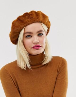 Asos Design DESIGN faux fur beret with bound edge in tan