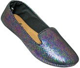 Dawgs Women's Kaymann Exotic Smoking Slippers Iridescent Blue Snake Print