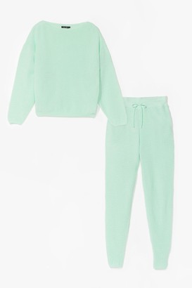 Nasty Gal Womens Knit Happens Jumper & Jogger Lounge Set - Green - S