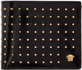 Versace Black Patent Studded Medusa Bifold Wallet