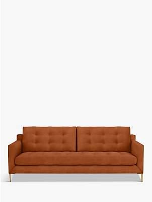 John Lewis & Partners Draper Large 3 Seater Velvet Sofa, Metal Leg, Lucca Sienna