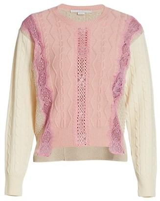 Stella McCartney Mixed Media Step-Hem Sweater