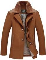 Insun Men's Winter Fur Collar 2 Button Zip Wool Coat Jacket