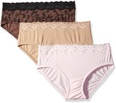 Olga Women's without a Stitch Lace Hipster 3-Pack Panty
